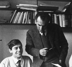 Ernesto Ferrero e Daniele Ponchiroli alla Einaudi negli anni 60 (foto Giulio Bollati)